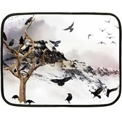 Birds Crows Black Ravens Wing Double Sided Fleece Blanket (mini)