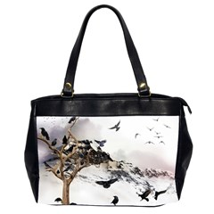 Birds Crows Black Ravens Wing Office Handbags (2 Sides)