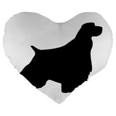 English Springer Spaniel Silo Black Large 19  Premium Heart Shape Cushions