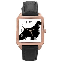 English Springer Spaniel Silo Black Rose Gold Leather Watch