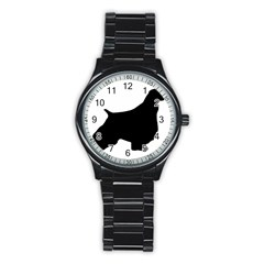 English Springer Spaniel Silo Black Stainless Steel Round Watch