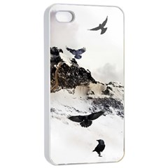 Birds Crows Black Ravens Wing Apple Iphone 4/4s Seamless Case (white)
