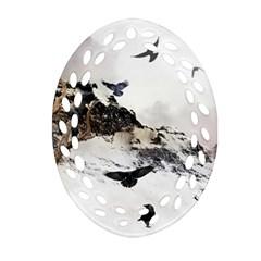 Birds Crows Black Ravens Wing Ornament (oval Filigree)