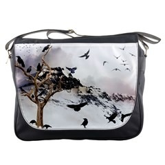 Birds Crows Black Ravens Wing Messenger Bags