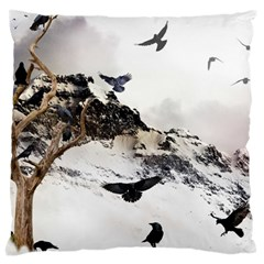 Birds Crows Black Ravens Wing Large Cushion Case (two Sides)
