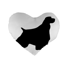 English Springer Spaniel Silo Black Standard 16  Premium Flano Heart Shape Cushions