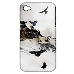 Birds Crows Black Ravens Wing Apple Iphone 4/4s Hardshell Case (pc+silicone)