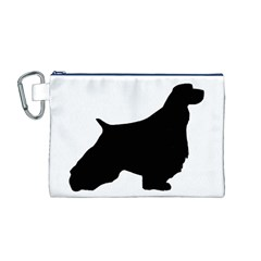 English Springer Spaniel Silo Black Canvas Cosmetic Bag (M)
