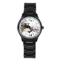 Birds Crows Black Ravens Wing Stainless Steel Round Watch