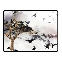 Birds Crows Black Ravens Wing Double Sided Fleece Blanket (small)