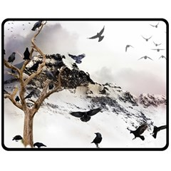 Birds Crows Black Ravens Wing Double Sided Fleece Blanket (medium)