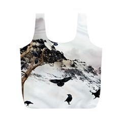 Birds Crows Black Ravens Wing Full Print Recycle Bags (M)