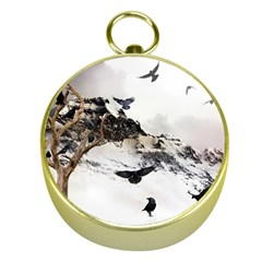 Birds Crows Black Ravens Wing Gold Compasses