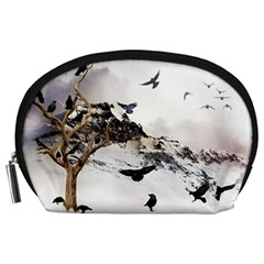 Birds Crows Black Ravens Wing Accessory Pouches (Large)