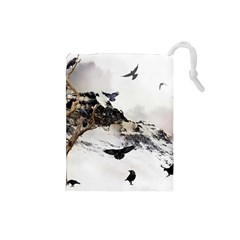 Birds Crows Black Ravens Wing Drawstring Pouches (Small)