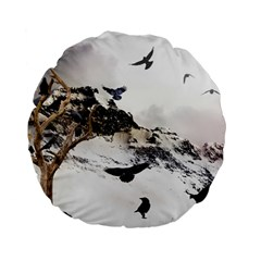 Birds Crows Black Ravens Wing Standard 15  Premium Flano Round Cushions