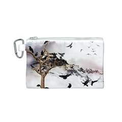 Birds Crows Black Ravens Wing Canvas Cosmetic Bag (S)