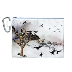 Birds Crows Black Ravens Wing Canvas Cosmetic Bag (l)