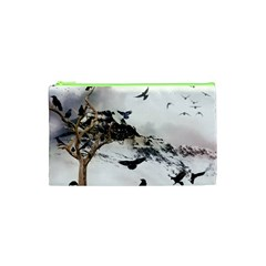 Birds Crows Black Ravens Wing Cosmetic Bag (xs)