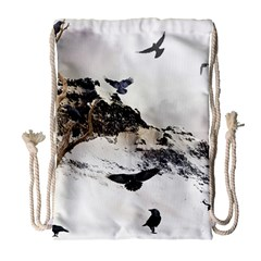 Birds Crows Black Ravens Wing Drawstring Bag (Large)