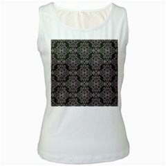 Line Geometry Pattern Geometric Women s White Tank Top