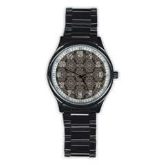 Line Geometry Pattern Geometric Stainless Steel Round Watch