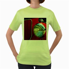 Antique Car Auto Roadster Old Women s Green T-Shirt