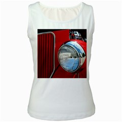 Antique Car Auto Roadster Old Women s White Tank Top