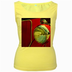 Antique Car Auto Roadster Old Women s Yellow Tank Top