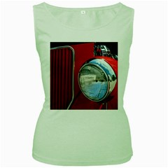 Antique Car Auto Roadster Old Women s Green Tank Top
