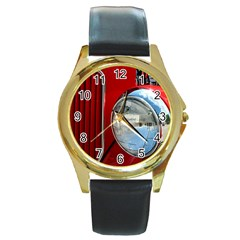 Antique Car Auto Roadster Old Round Gold Metal Watch