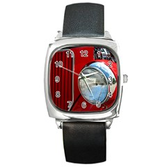 Antique Car Auto Roadster Old Square Metal Watch
