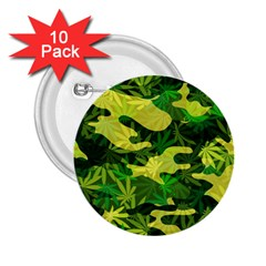 Marijuana Camouflage Cannabis Drug 2.25  Buttons (10 pack)