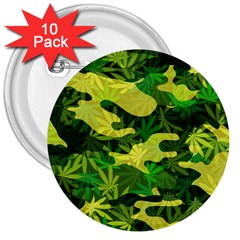 Marijuana Camouflage Cannabis Drug 3  Buttons (10 Pack)