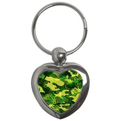Marijuana Camouflage Cannabis Drug Key Chains (heart)