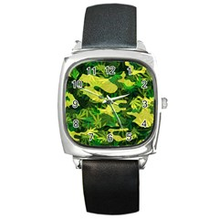 Marijuana Camouflage Cannabis Drug Square Metal Watch