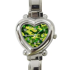 Marijuana Camouflage Cannabis Drug Heart Italian Charm Watch