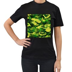 Marijuana Camouflage Cannabis Drug Women s T Shirt (black) (two Sided)