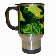 Marijuana Camouflage Cannabis Drug Travel Mugs (white)