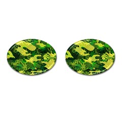 Marijuana Camouflage Cannabis Drug Cufflinks (oval)