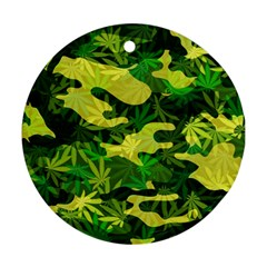 Marijuana Camouflage Cannabis Drug Round Ornament (Two Sides)