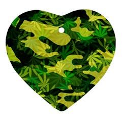 Marijuana Camouflage Cannabis Drug Heart Ornament (two Sides)