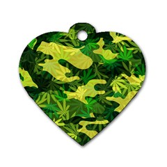 Marijuana Camouflage Cannabis Drug Dog Tag Heart (one Side)