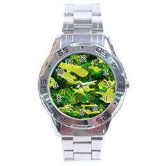 Marijuana Camouflage Cannabis Drug Stainless Steel Analogue Watch