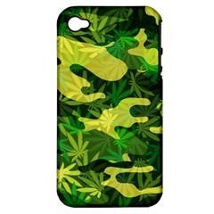 Marijuana Camouflage Cannabis Drug Apple Iphone 4/4s Hardshell Case (pc+silicone)