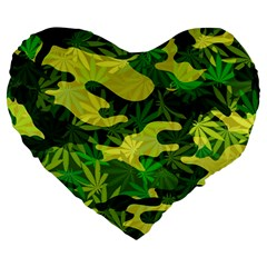 Marijuana Camouflage Cannabis Drug Large 19  Premium Heart Shape Cushions