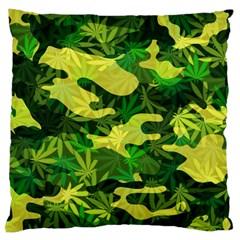 Marijuana Camouflage Cannabis Drug Large Flano Cushion Case (One Side)