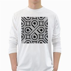 Pattern Tile Seamless Design White Long Sleeve T Shirts