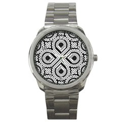 Pattern Tile Seamless Design Sport Metal Watch