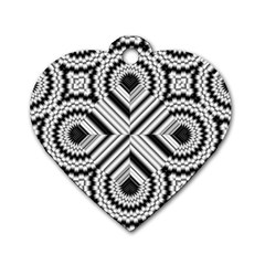 Pattern Tile Seamless Design Dog Tag Heart (one Side)
